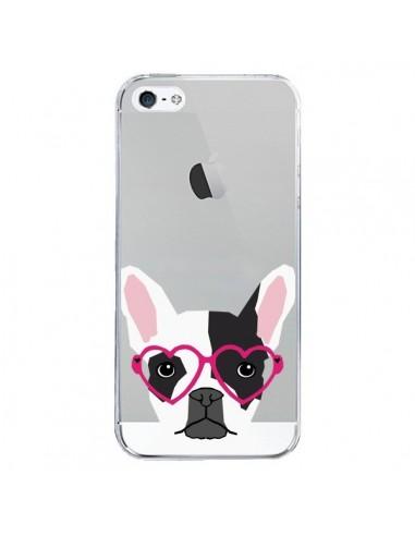 Coque iPhone 5/5S et SE Bulldog Français Lunettes Coeurs Chien Transparente - Pet Friendly