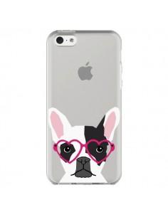 Coque Bulldog Français Lunettes Coeurs Chien Transparente pour iPhone 5C - Pet Friendly