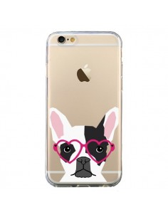 Coque Bulldog Français Lunettes Coeurs Chien Transparente pour iPhone 6 et 6S - Pet Friendly