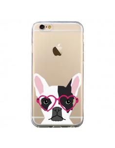 Coque iPhone 6 et 6S Bulldog Français Lunettes Coeurs Chien Transparente - Pet Friendly