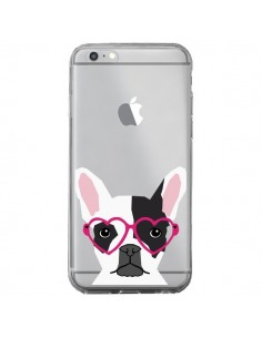 Coque Bulldog Français Lunettes Coeurs Chien Transparente pour iPhone 6 Plus et 6S Plus - Pet Friendly