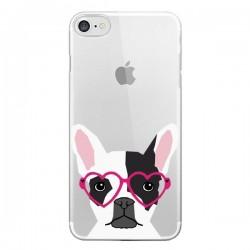 Coque iPhone 7 et 8 Bulldog Français Lunettes Coeurs Chien Transparente - Pet Friendly