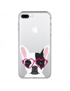 Coque Bulldog Français Lunettes Coeurs Chien Transparente pour iPhone 7 Plus et 8 Plus - Pet Friendly