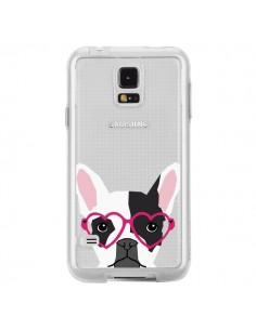 Coque Bulldog Français Lunettes Coeurs Chien Transparente pour Samsung Galaxy S5 - Pet Friendly