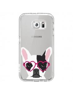 Coque Bulldog Français Lunettes Coeurs Chien Transparente pour Samsung Galaxy S6 - Pet Friendly