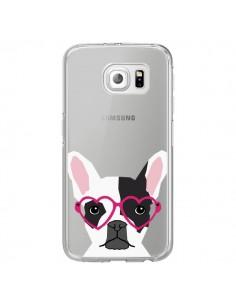 Coque Bulldog Français Lunettes Coeurs Chien Transparente pour Samsung Galaxy S6 Edge - Pet Friendly
