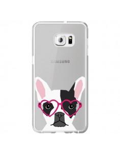 Coque Bulldog Français Lunettes Coeurs Chien Transparente pour Samsung Galaxy S6 Edge Plus - Pet Friendly