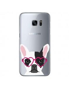 Coque Bulldog Français Lunettes Coeurs Chien Transparente pour Samsung Galaxy S7 - Pet Friendly