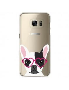 Coque Bulldog Français Lunettes Coeurs Chien Transparente pour Samsung Galaxy S7 Edge - Pet Friendly