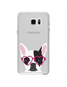 Coque Bulldog Français Lunettes Coeurs Chien Transparente pour Samsung Galaxy Note 5 - Pet Friendly