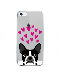 Coque iPhone 5/5S et SE Boston Terrier Coeurs Chien Transparente - Pet Friendly