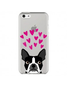 Coque iPhone 5C Boston Terrier Coeurs Chien Transparente - Pet Friendly