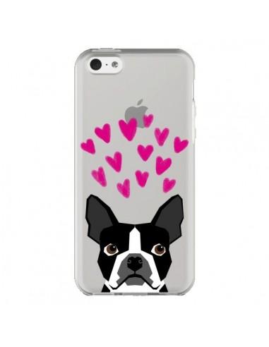 Coque iPhone 5C Boston Terrier Coeurs Chien Transparente - Pet Friendly