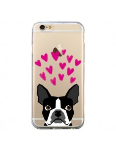 Coque iPhone 6 et 6S Boston Terrier Coeurs Chien Transparente - Pet Friendly