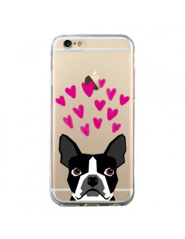 Coque iPhone 6 et 6S Boston Terrier Coeurs Chien Transparente - Pet Friendly