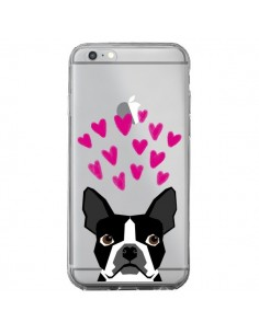 Coque iPhone 6 Plus et 6S Plus Boston Terrier Coeurs Chien Transparente - Pet Friendly
