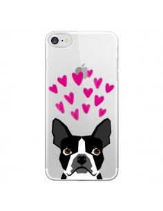 Coque iPhone 7 et 8 Boston Terrier Coeurs Chien Transparente - Pet Friendly