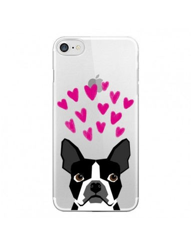Coque Boston Terrier Coeurs Chien Transparente pour iPhone 7 et 8 - Pet Friendly