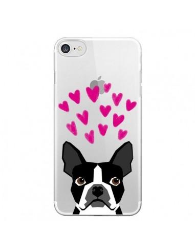 Coque Boston Terrier Coeurs Chien Transparente pour iPhone 7 - Pet Friendly
