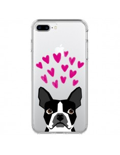 Coque iPhone 7 Plus et 8 Plus Boston Terrier Coeurs Chien Transparente - Pet Friendly