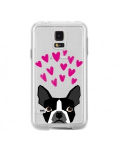 Coque Boston Terrier Coeurs Chien Transparente pour Samsung Galaxy S5 - Pet Friendly
