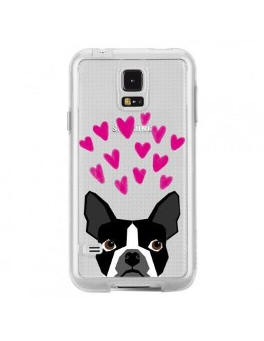 Coque Boston Terrier Coeurs Chien Transparente pour Samsung Galaxy S5 - Pet Friendly