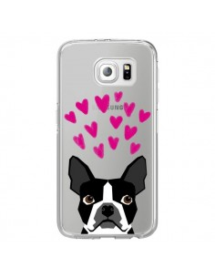 Coque Boston Terrier Coeurs Chien Transparente pour Samsung Galaxy S6 Edge - Pet Friendly