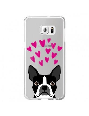 Coque Boston Terrier Coeurs Chien Transparente pour Samsung Galaxy S6 Edge Plus - Pet Friendly
