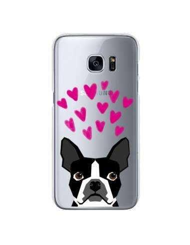 Coque Boston Terrier Coeurs Chien Transparente pour Samsung Galaxy S7 - Pet Friendly