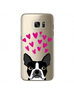 Coque Boston Terrier Coeurs Chien Transparente pour Samsung Galaxy S7 Edge - Pet Friendly