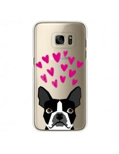 Coque Boston Terrier Coeurs Chien Transparente pour Samsung Galaxy S7 Edge - Pet Friendly