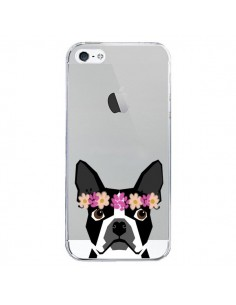 Coque Boston Terrier Fleurs Chien Transparente pour iPhone 5/5S et SE - Pet Friendly