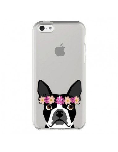 Coque iPhone 5C Boston Terrier Fleurs Chien Transparente - Pet Friendly
