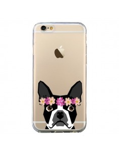 Coque iPhone 6 et 6S Boston Terrier Fleurs Chien Transparente - Pet Friendly