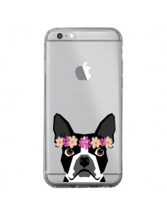 Coque Boston Terrier Fleurs Chien Transparente pour iPhone 6 Plus et 6S Plus - Pet Friendly