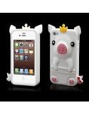 Coque Cochon Pig couronné en Silicone pour iPhone 4/4S
