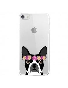 Coque Boston Terrier Fleurs Chien Transparente pour iPhone 7 - Pet Friendly