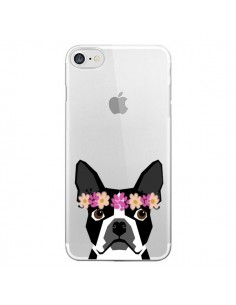Coque iPhone 7 et 8 Boston Terrier Fleurs Chien Transparente - Pet Friendly