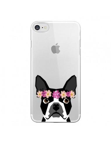 Coque Boston Terrier Fleurs Chien Transparente pour iPhone 7 et 8 - Pet Friendly