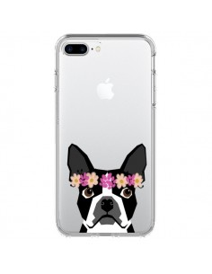 Coque Boston Terrier Fleurs Chien Transparente pour iPhone 7 Plus et 8 Plus - Pet Friendly