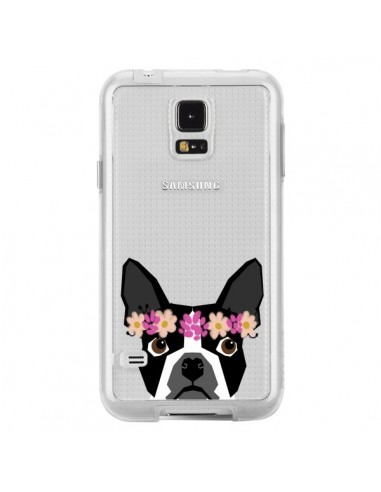 Coque Boston Terrier Fleurs Chien Transparente pour Samsung Galaxy S5 - Pet Friendly