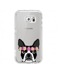Coque Boston Terrier Fleurs Chien Transparente pour Samsung Galaxy S6 - Pet Friendly