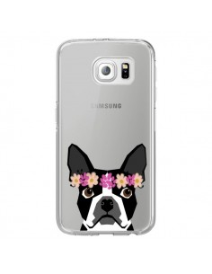 Coque Boston Terrier Fleurs Chien Transparente pour Samsung Galaxy S6 Edge - Pet Friendly