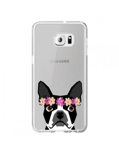 Coque Boston Terrier Fleurs Chien Transparente pour Samsung Galaxy S6 Edge Plus - Pet Friendly
