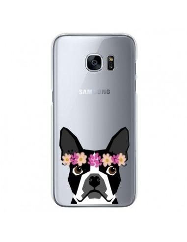 Coque Boston Terrier Fleurs Chien Transparente pour Samsung Galaxy S7 - Pet Friendly