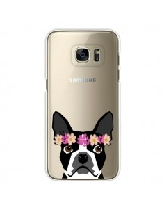 Coque Boston Terrier Fleurs Chien Transparente pour Samsung Galaxy S7 Edge - Pet Friendly