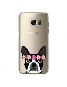 Coque Boston Terrier Fleurs Chien Transparente pour Samsung Galaxy S7 Edge - Pet Friendly