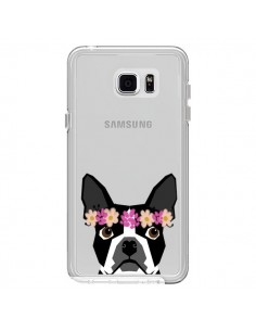 Coque Boston Terrier Fleurs Chien Transparente pour Samsung Galaxy Note 5 - Pet Friendly