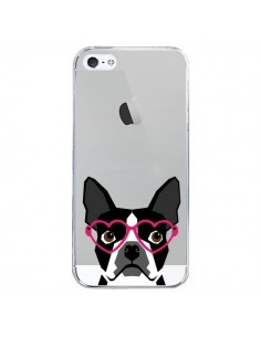 Coque iPhone 5/5S et SE Boston Terrier Lunettes Coeurs Chien Transparente - Pet Friendly