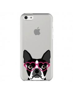 Coque Boston Terrier Lunettes Coeurs Chien Transparente pour iPhone 5C - Pet Friendly